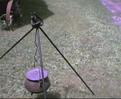 Chuckwagon Camprife Irons set up as a tripod