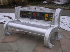alum. &  stained glass bench