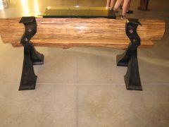 """oak bench """"backside"""" compound curves were a pain..."""
