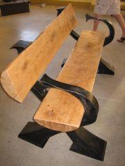 7' white oak bench..