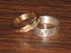 -silver and gold stamped rings