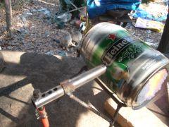 "the ""up wind "" burner on the mini beer keg forge"