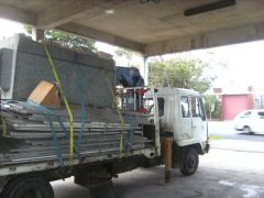 a spray booth  at loaded on moonys truck