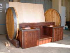 wood barrel with copper sinks and tops