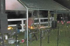 Forge welding at a demo.....night time