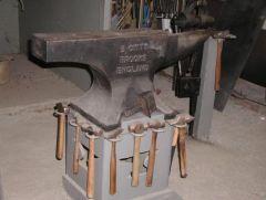 my main forging anvil a 560lb vaughn brooks