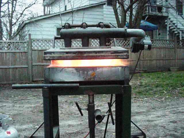 Gas forge lit up