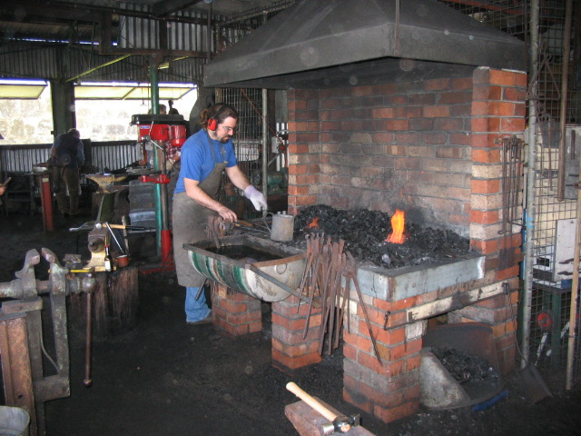 Brick Blacksmith Forge : Double forge coal solid fuel i iron