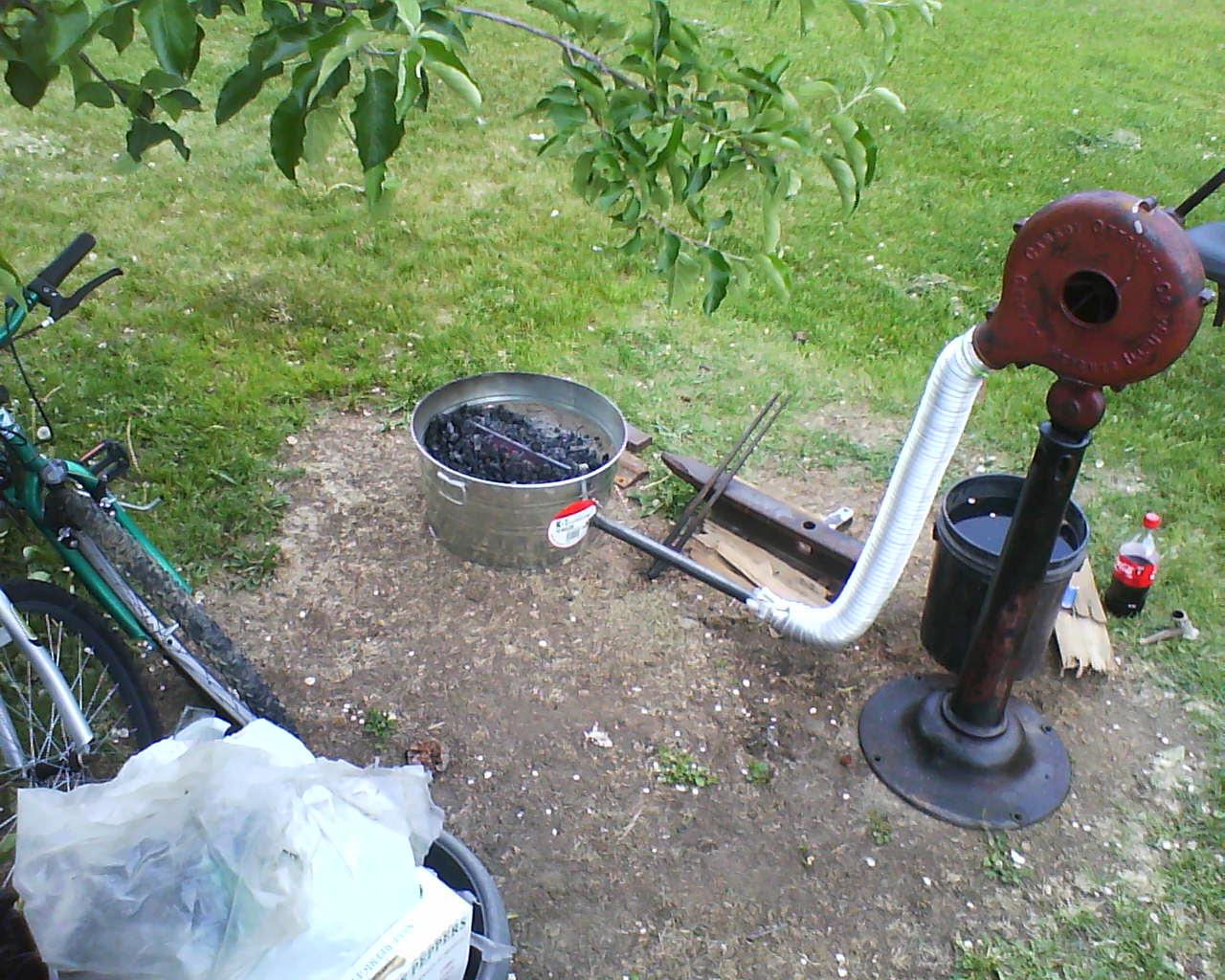 My first forge, 12 gal. adobe