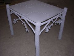 view of sandblasted table w/ base