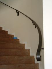 Bottom view of curved handrail