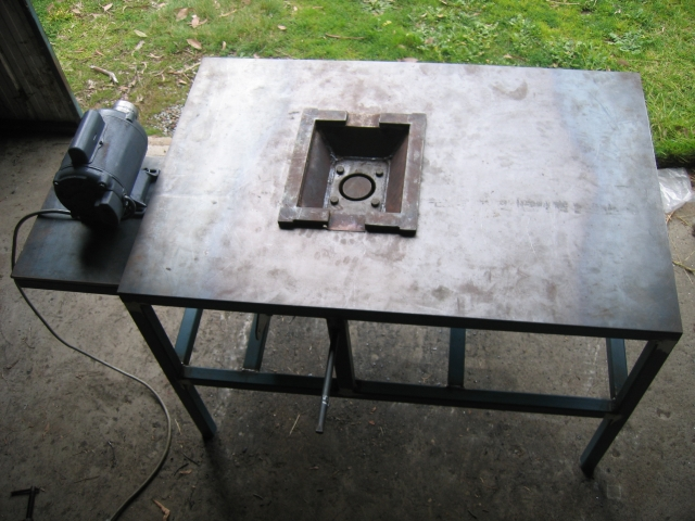 Frame with motor and firepot mounted