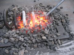 Coal Forge - First Fire - testing on coil spring!!!!