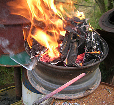 Wheel Forge using wood as fuel