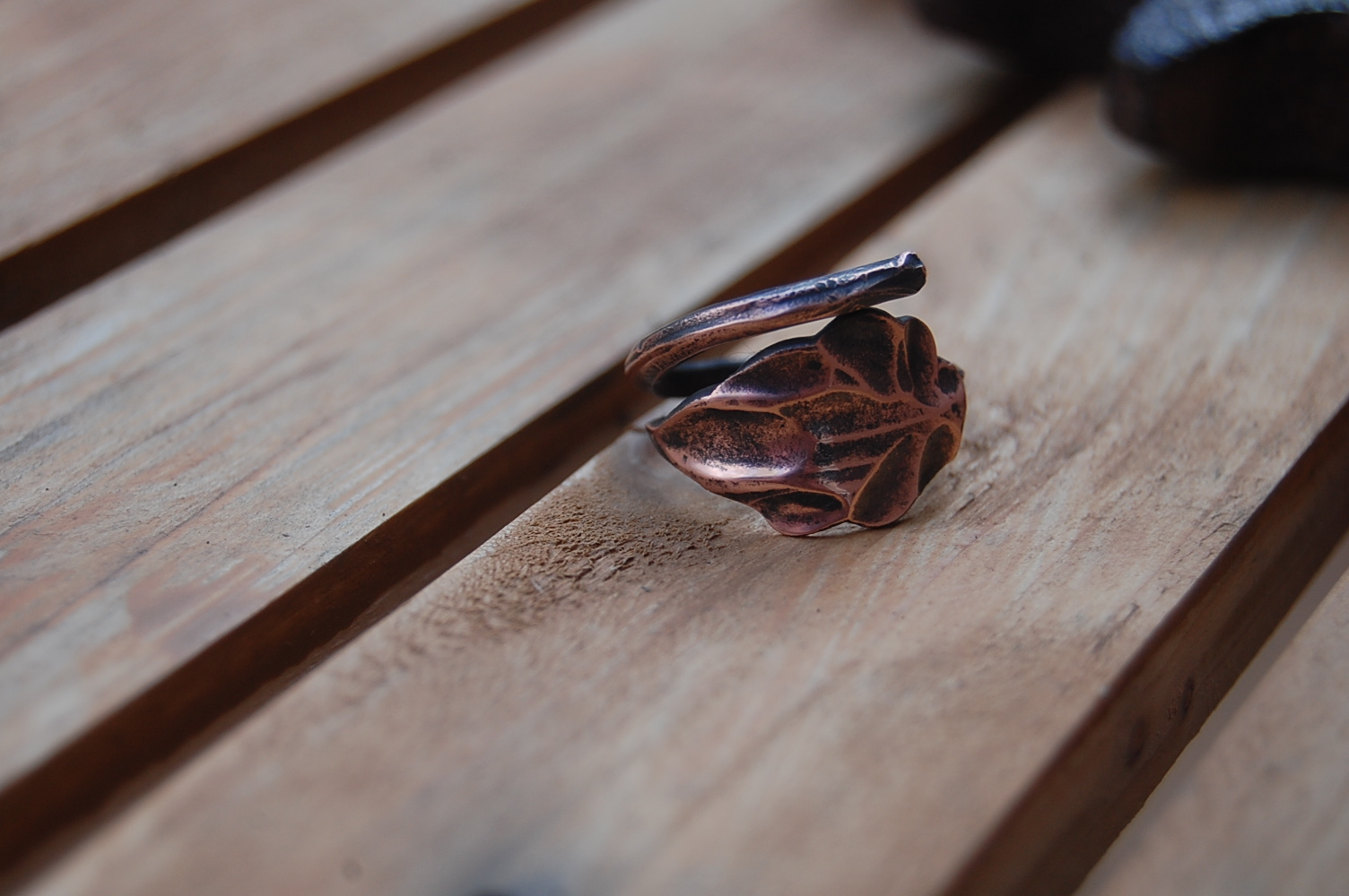 Copper leaf ring