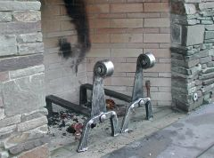 forged stainless andirons