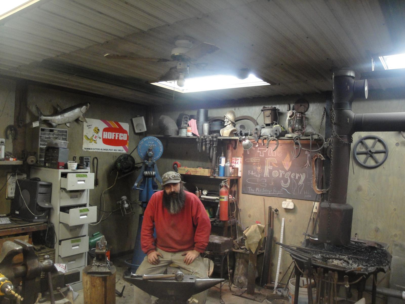 Pics of me and my smithy.my shop name is The Forgery.