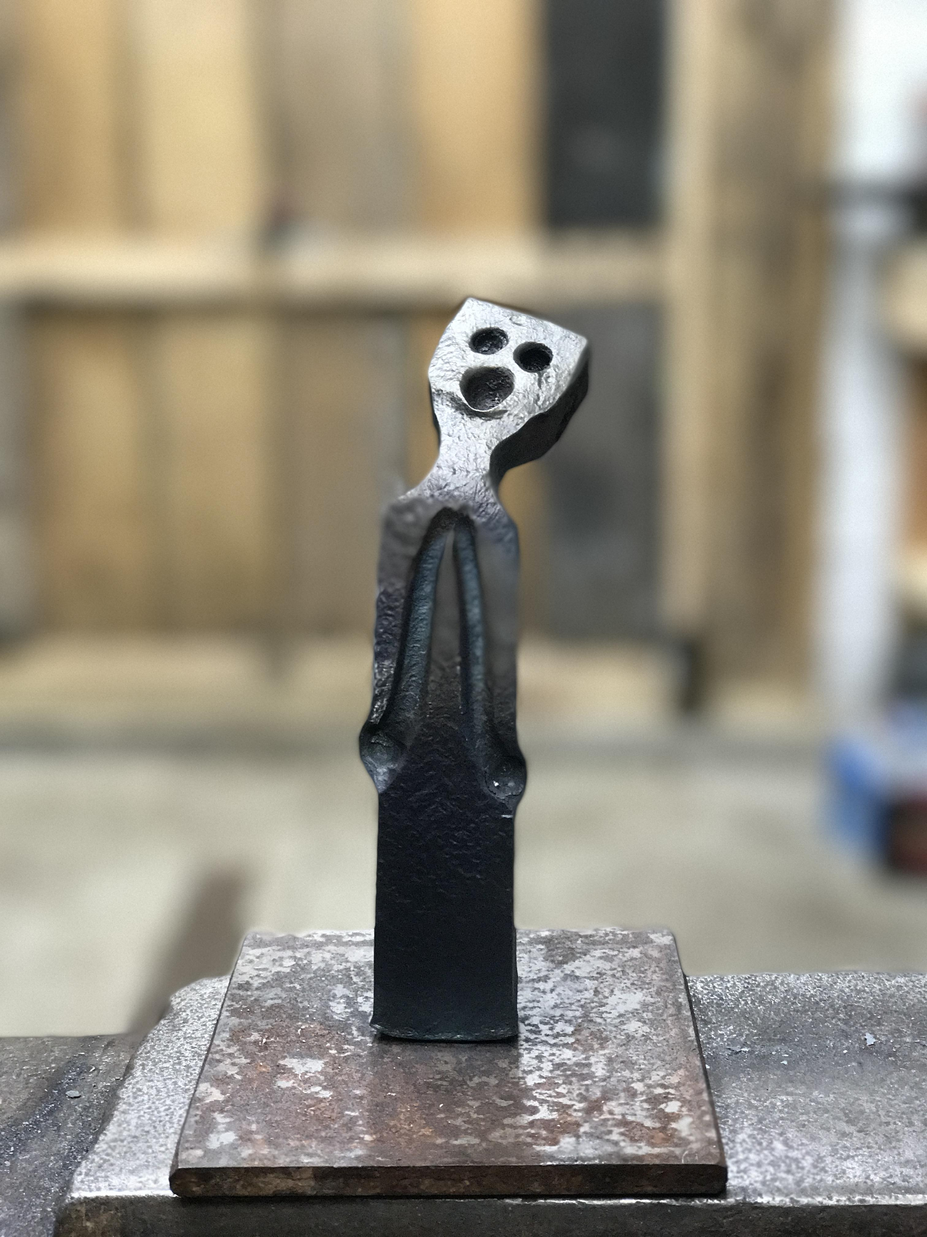 Abstract man metal sculpture carvings i forge iron