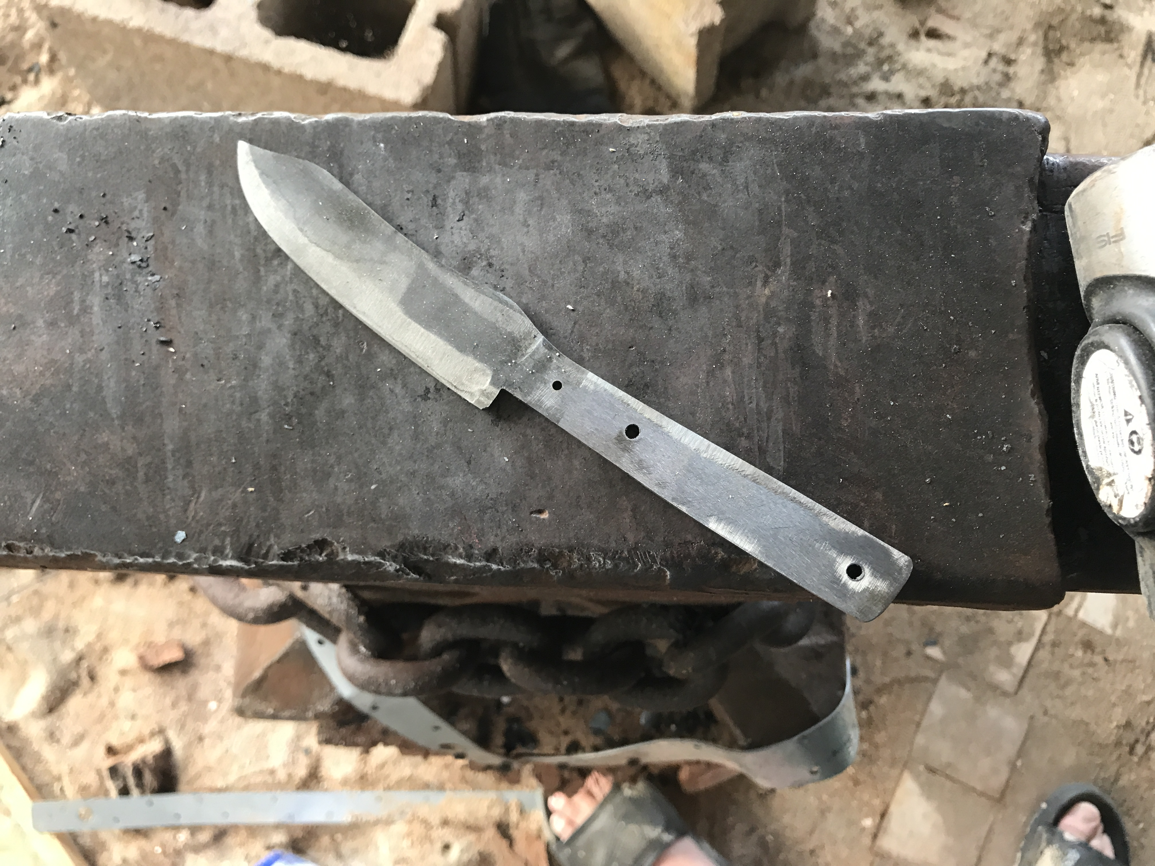 52100 & W2 damascus skinner. Work in progress - Knife Making - I ...