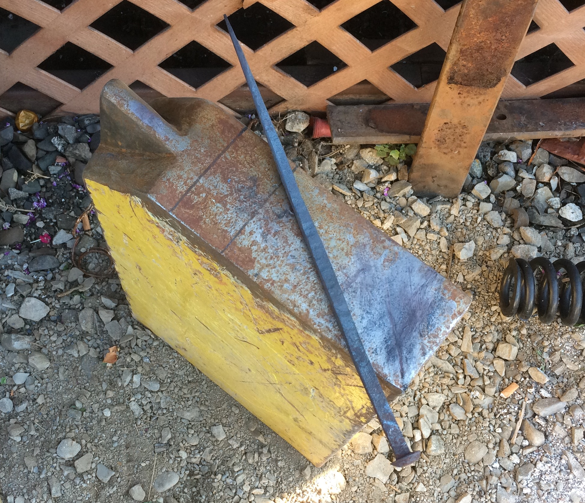 A collection of improvised anvils