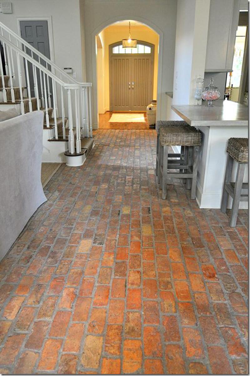 Brick Floor Hallway Into Kitchen