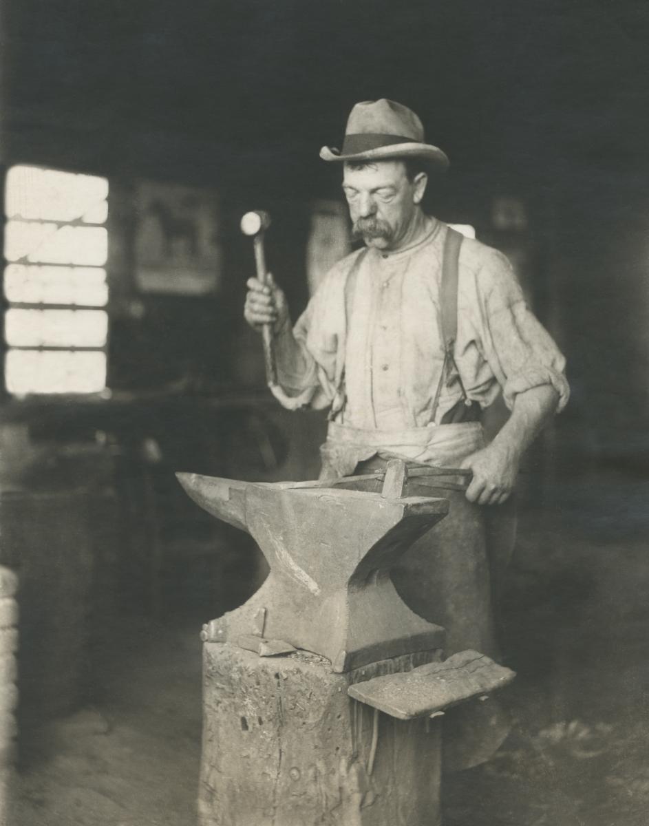 Blacksmith Chris Downs, c.1888, Radnor, PA, USA